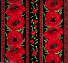 Bordüre Flora Patchworkstoff Stoffe Mohn Blumenstoffe Patchwork Blumen Baumwolle