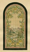 19th century Vintage Drawing - Dessin Ancien - Stained Glass with Citrus Fruit