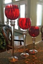 Gorgeous Charisma Set of 3 Candle Holders with Bright Red Globes