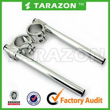 38mmTarazon clip on handlebars.Silver, billet aluminium alloy  cafe racer.