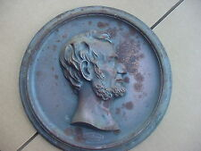 """Lincoln Cast Iron Plaque Compliments of Foster Merriam Co. Meriden CT  11 1/4"""""""