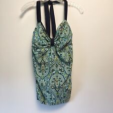 Tommy Hilfiger Halter Island Fever Tankini Top Blue Paisley Size 14 New