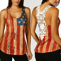 Women Summer Lace Sleeveless American Flag Casual Tank Vest Tops Blouse T Shirt