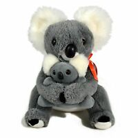 JUMBACK GREY KOALA & BABY WITH FLAG SOFT ANIMAL PLUSH TOY 28cm **NEW**