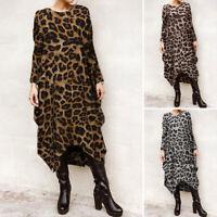 ZANZEA 10-24 Women Full Length Long Maxi Kaftan Abaya Gown Leopard Print Dress