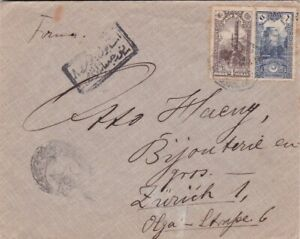 Turkey #255,#257 on censored WWI cover to Switzerland  *d