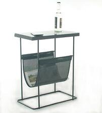 Beistelltisch Couchtisch Sofatisch aus Glas & Metall mit Zeitungsablage, schwarz