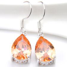 Sparkling  Oval Cut Natural Honey Morganite Gems Silver Dangle Hook Earrings