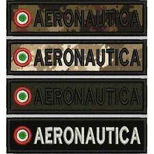 [Patch] AERONAUTICA + COCCARDA cm 12 x 3 toppa ricamata ricamo termoadesiva -398