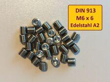 DIN EN ISO 4026  M6x6 A2 Edelstahl Stiftschraube Madenschraube  25 Stück