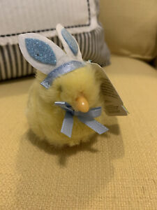 DanDee Palm Pet Easter Chick Plush Toy with Chirping Sound Blue Ears & Bow NWT