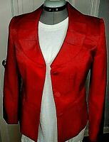 Larry Levine Signature Lined Women Blazer Red Snakeskin Look 8 New