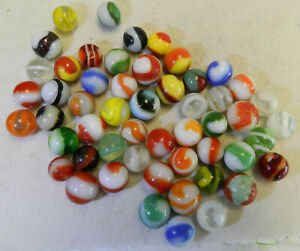 #13901m Vintage Group of 50 Cull or Rough Akro Agate Corkscrew Marbles