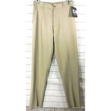 Russel Athletic Beige Khaki Flat Front Unhemmed Football Coaching Pants Sz 32