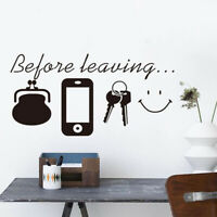 Before Leaving Home Quote Wall Stickers Vinyl Wall Decal Home Art Stickers W