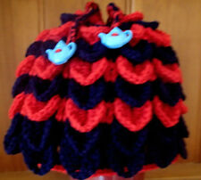 Hand crochet tea cosy in navy and red