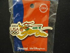 Disney Wdw Decathalon Pin Pursuit Usa Olympic Logo Pluto 400M Pin On Card