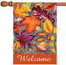 Toland Autumn Welcome 28 x 40 Bright Colorful Fall Leaves House Flag