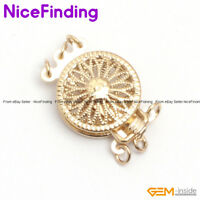 3 Strands Filigree Yellow Gold Plated Box Jewelry Making Clasp 12mm GP0274 DIY