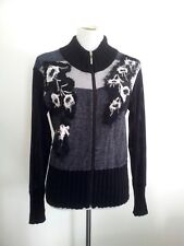Didier Parakian size 40 black viscose blend zip-up top with long sleeves