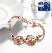 Fashion 18 K Rose Gold Filled Flower With Heart Zircon Crystal Bracelet