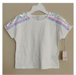 Iridescent Pink Sequin Sleeve White T-Shirt