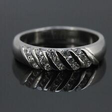14K White Gold 1/2 Ct Natural Diamond Unisex Men Women's Wedding Band Ring