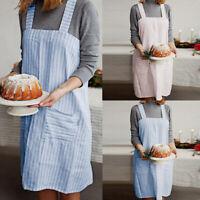 Butchers Chefs Kitchen Apron Women Baking Cooking Striped Pinafore Dress Smock