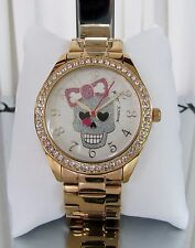Betsey Johnson Sugar Skull Bow Watch Crystals Gold tone BJ00048-206 NWT