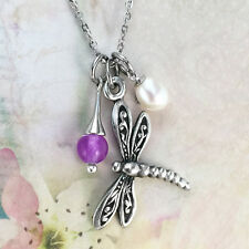 Dragonfly Necklace with Freshwater Pearl & Fuchsia Jade