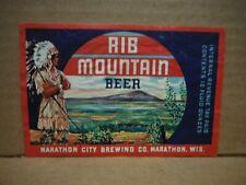 New listing Rib Mountain Irtp 12 Oz. Beer Label-Marathon Brg.,Marthon,Wisconsin