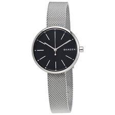 Skagen Signature Black Dial Ladies Stainless Steel Mesh Watch SKW2596