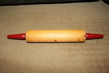 ANTIQUE VINTAGE WOODEN ROLLING PIN WITH RED HANDLES