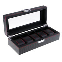 5 Slots Carbon Fiber Woven Pattern High-Capacity Watch/Jewelry Storage Box