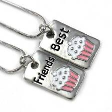 Birthday Party Pink Cupcake Best Friends Forever BFF Necklace Pendant Dog Tag z1