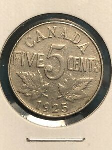 1925 CANADA NICKEL 5 CENTS NICE DETAILS KEY DATE!