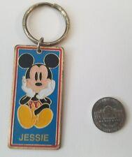 "Vintage Disney Mickey Mouse Brass Keychain ""Jessie"" Disneyland Souvenir"