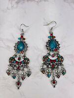 Alisha D Silver Alloy Multicolor Rhinestone Chandelier Drop Dangle Earrings
