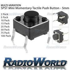 2-100pcs 5mm SPST Small Mini Micro Momentary Tactile Push Button Switch 6x6mm