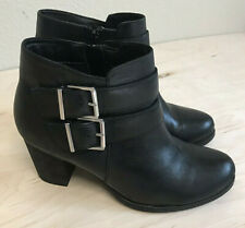 """Clarks Artisan Black Leather Double Buckle Palma Rena Ankle Boot 8.5 3"""" heel"""