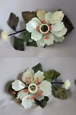"Vintage PAIR Chinese CARVED JADE STONE FLOWER Peonies CANDLE HOLDERS 8"" x 5"""