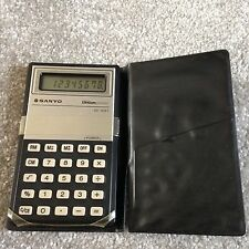 Collectable Vintage Rare Pocket Calculator SANYO CX1221 lithium - fold over case