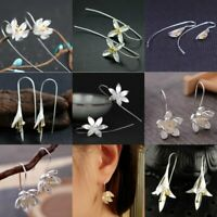 Fashion Lotus Flower Silver Statement Hoop Earrings Dangle Drop Women Jewellery