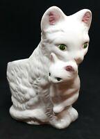 Cat & Kitten Planter Vase Succulent Air Plant Flowers Glazed Ceramic White Kitty