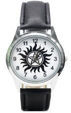 Supernatural Pentagram Logo Black Leather Band Wrist Watch