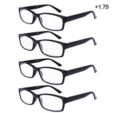 Reading Glasses Unisex Rectangle Readers Stylish Men Women 4 Pairs/Pack 1.75