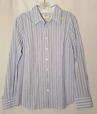 Haberdashery J. Crew pinstripped blouse button front 100% cotton blue size M