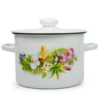 White Enameled Cooking Pot with Lid. Durable Enamelware Stock Pots from Ukraine
