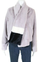N12H Womens Zip Up Faux Fur Bomber Jacket Pale Pink Size Small