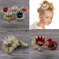 Baby Girls Glitter Crown Princess Hair Clip Lace Pearl Headband Hair Accessories